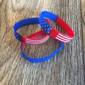 Jewelry - Lot of 3 US flag Bracelet Silicon Wristband Rubber
